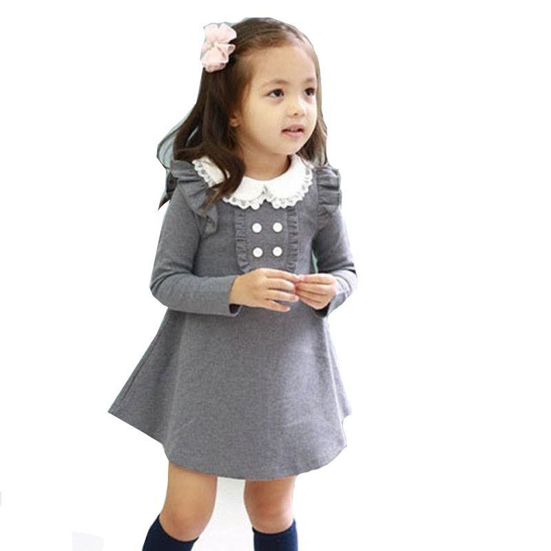 2018 printemps automne nouveauté coton fille coréenne vêtements poupée col à manches longues décontracté filles A-ligne mini robe enfants vêtements