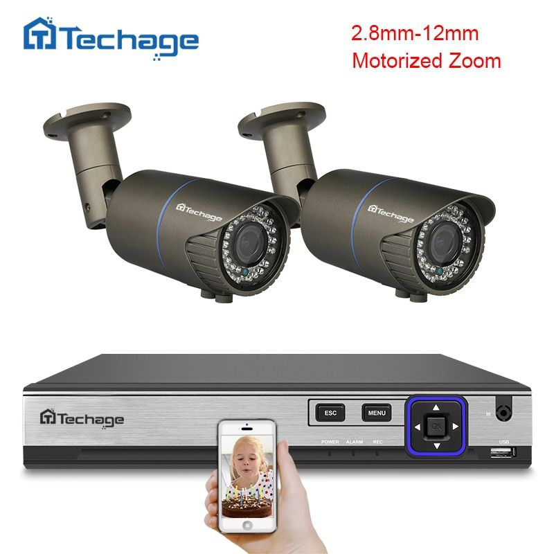 Techage H.265 4CH POE NVR Kit 4MP CCTV System 2PCS 2.8mm-12mm Motorized Zoom Auto Lens POE IP Camera Outdoor Security DIY Kit