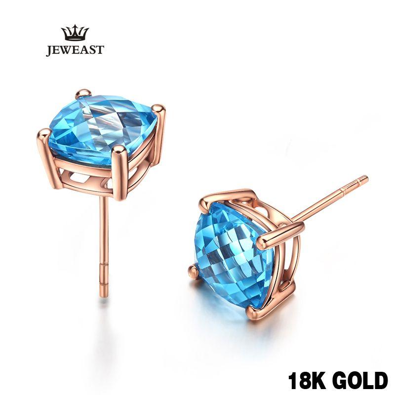 18 k Reine Rose Gold Natürliche Blaue Topas Stein Stud Ohrringe Einfache Elegante Und Klassische Geschenk Für Mutter sapphire Heißer verkauf 2017 neue
