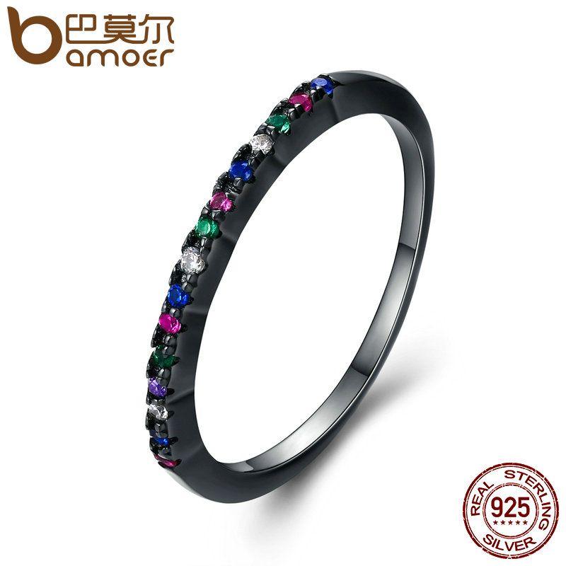 BAMOER Genuine 925 Sterling Silver & Black Silver Colourful Glittering CZ Finger Rings for Women Sterling Silver Jewelry SCR123