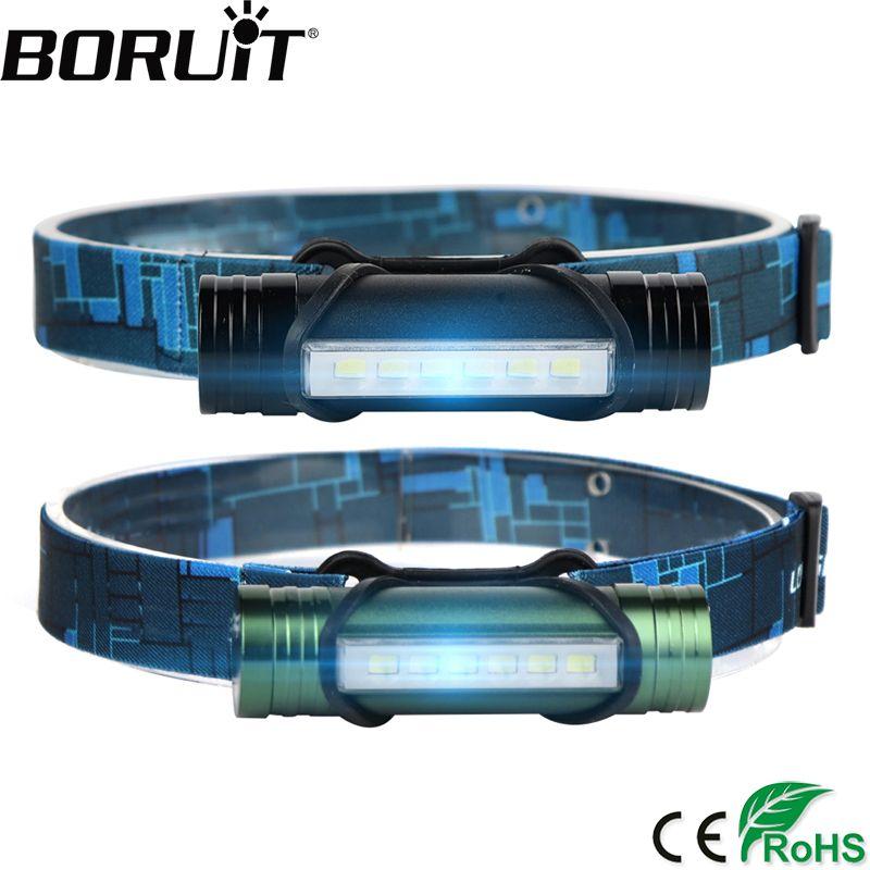 BORUiT 6 LED 500LM Projecteur 3-Mode USB Rechargeable Phare Puissance Banque lampe de Poche De Pêche Frontale Lanterne Chasse Tête Torche