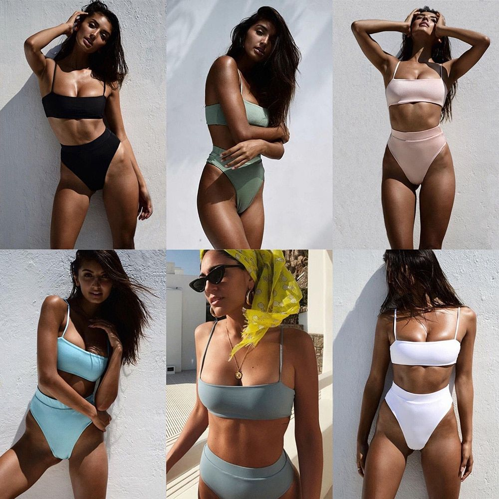 ZTVitality Sexy Bikinis Solid Push Up Bikini 2019 Hot Sale Padded Bra Straps High Waist Swimsuit Swimwear Women Print Biquini XL