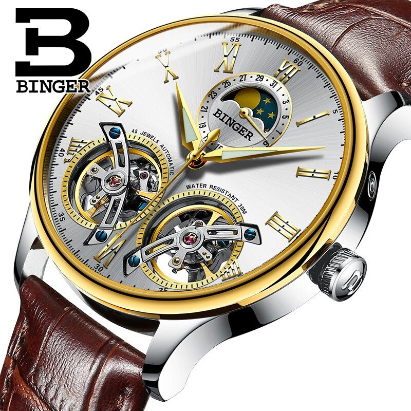 Switzerland watches men luxury brand BINGER sapphire Water Resistant toubillon full steel Mechanical Wristwatches B-8606MN-9