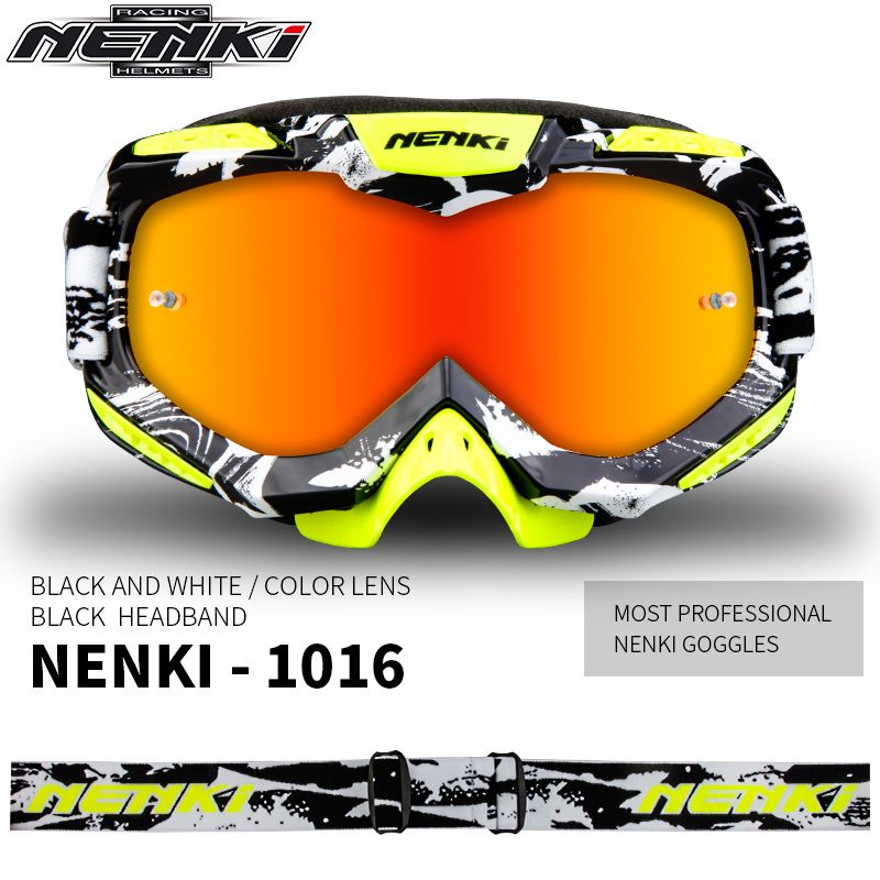 NENKI Ski Glasses Motorcycle Goggles Motocross Goggles  Racing Eyewear Snowboard Glasses Colorful Lens Glasses Single Lens 1016