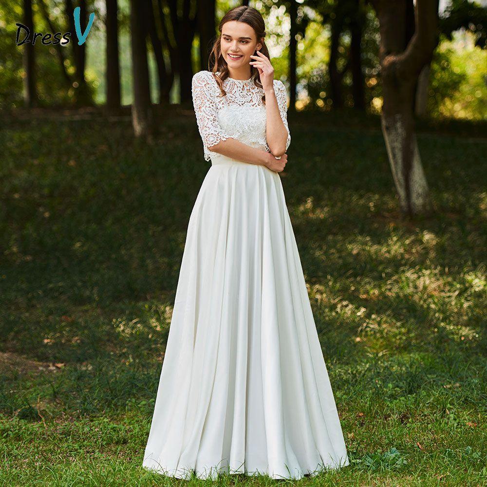 Dressv marfil vestido Scoop cuello una línea medias mangas nupcial botón elegante al aire libre y la Iglesia boda de la longitud del piso del cordón vestidos