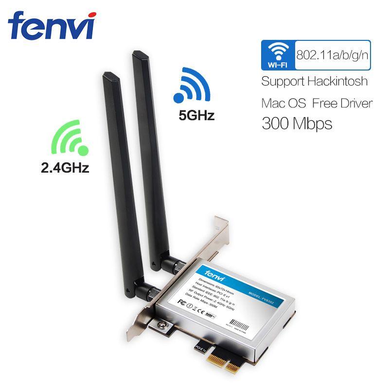 Fenvi Double bande 300 Mbps Sans Fil 802.11a/b/g/n 300 M WiFi PCI-e carte PCI Express réseau Adaptateur antennes pour Bureau Hackintosh