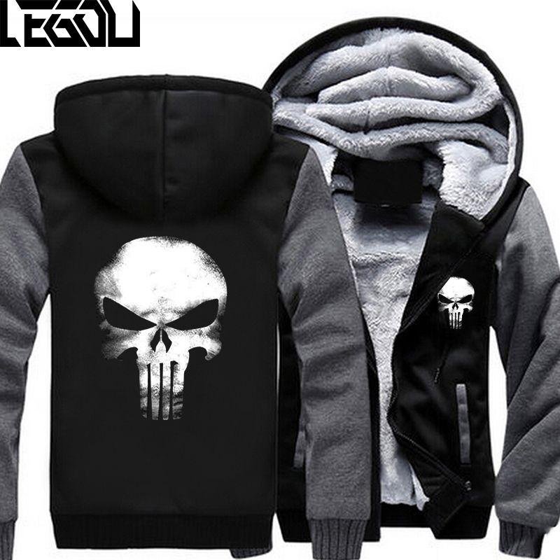 USA SIZE Men Hoodies Punisher Skull Casual Hoodies Thicker Fleece Coat Jacket Unisex Sweatershirts