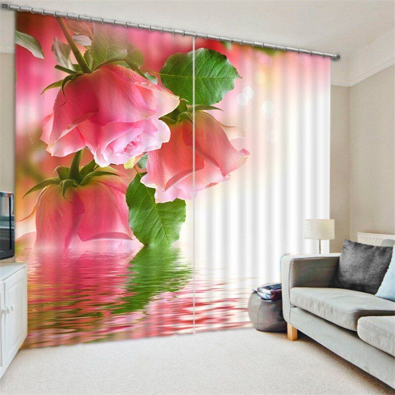 Luxury Elegent 3D pink rose Photo Printing Blackout Window Curtain For Living room Bedding room Decoration Drapes Cortinas