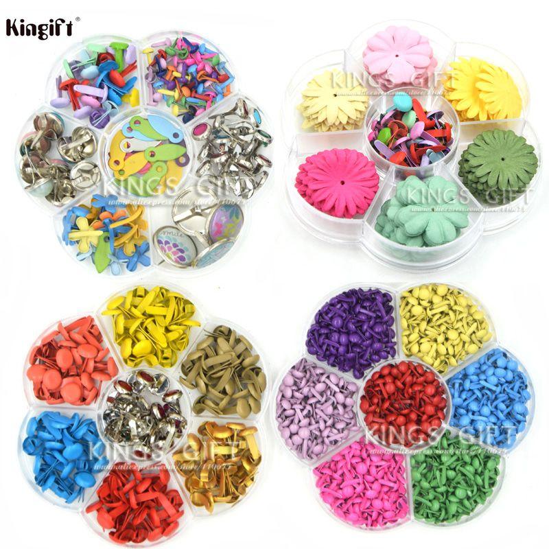 Couleurs assorties Mini Métal Brads 4.5mm, 8mm, Fleurs En Papier Pour Scrapbooking, fournitures BRICOLAGE Craft Scrapbooking Fleurs Brads