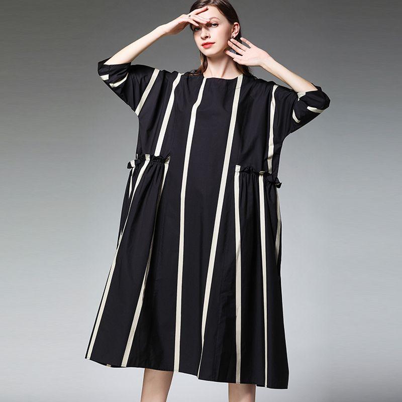 2019 frühling sommer frauen marke striped baumwolle kleider plus größe O neck fashion design dame beiläufige lose kleid schwarz