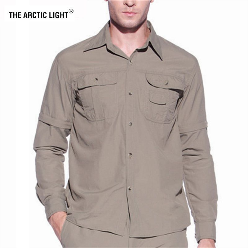 THE ARCTIC LIGHT Men Summer Quick Dry Hiking Shirt Removable Fishing&Hunting Shirt Breathable Rock Climbing Male Outdoor Shirts