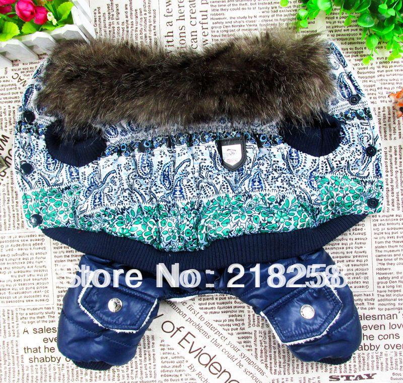 Vert Chien Chat Hiver jacket polaire résistant à l'eau manteau doublé Fleur Motif Vêtements Pour petit chiot livraison directe