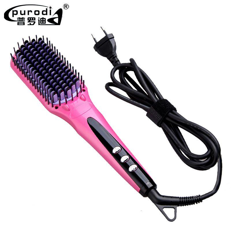 Purodi 2017 Digital Electric Hair Straightener Brush Comb Detangling Straightening Irons Hair Brush EU/ US/ UK Plug LCD Display