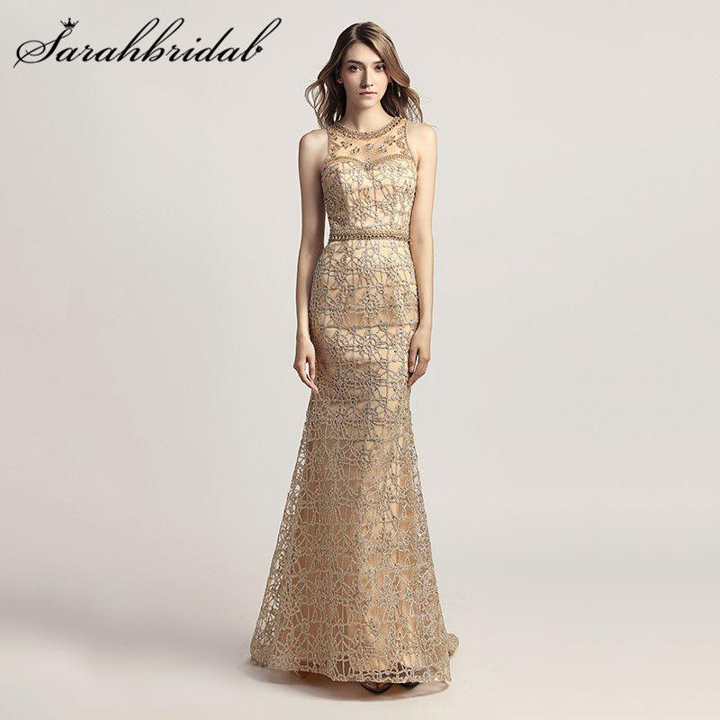 Elegant Gold Mermaid Evening Dresses Illusion Back Jewel Trumpet Formal Vestidos de Festa Floor Length Crystals Prom Gowns lx436