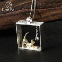 Lotus Fun 925 Colgantes para las mujeres gato jugando bola plata esterlina Amuletos pendentif mujer joyería bijoux femme