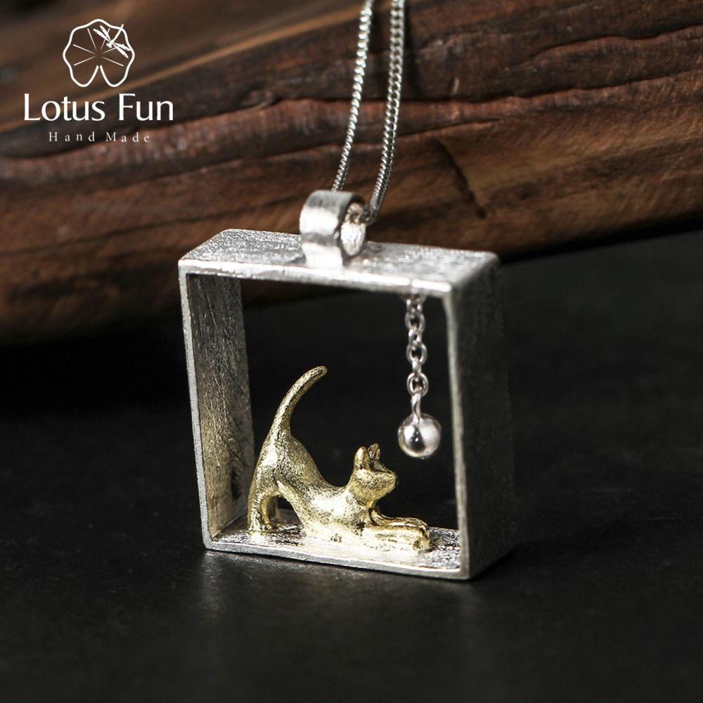 Lotus Fun 925 Pendentifs En Argent Sterling pour les Femmes Chat Jouant la Bille En Argent Sterling Charmes pendentif Femmes Bijoux bijoux femme