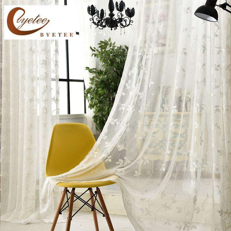 [Byetee] gasa blanco bordado voile cocina organza Cortinas Puertas para estudio de dormitorio cortina salón cortinas de tul