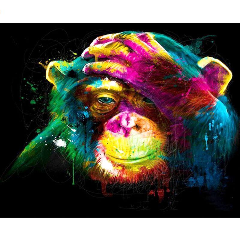 Peinture par numéros bricolage livraison directe 40x50 50x65cm peint singe Animal toile mariage décoration Art photo cadeau