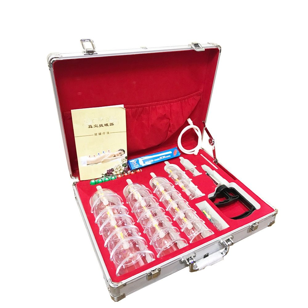 24 Pieces Wholesale Bigger Cans cups chinese cupping kit pull out vacuum apparatus therapy massage and relax Aluminum alloy gift