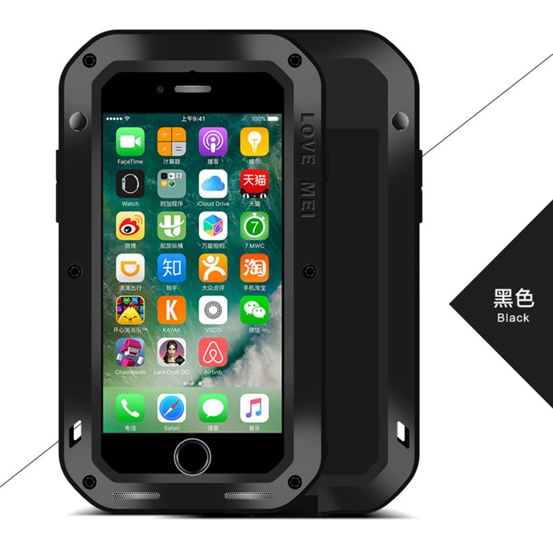Lovemei Powerful Dustproof Life Waterproof Aluminum Case For iPhone 7 Cover For iPhone 7 plus+Tempered Glass