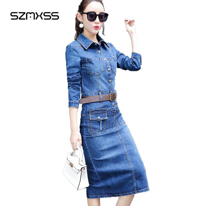Jeans Dress Fashion 2017 Summer Women Denim Dresses Long Sleeve Turn Down Collar Elegant Slim Split Cowboy Vestidos