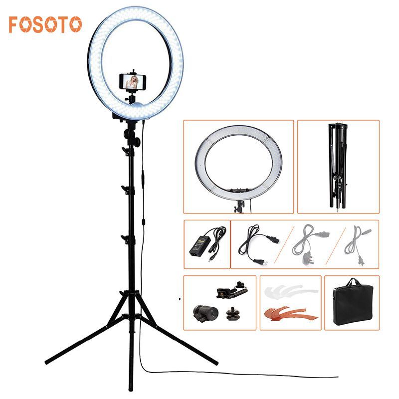FOSOTO RL-18 240LED 5500K Dimmable Photography/Photo/Studio/Phone/Video Ring Light Lamp&Tripod Stand For Canon Nikon Dslr Camera