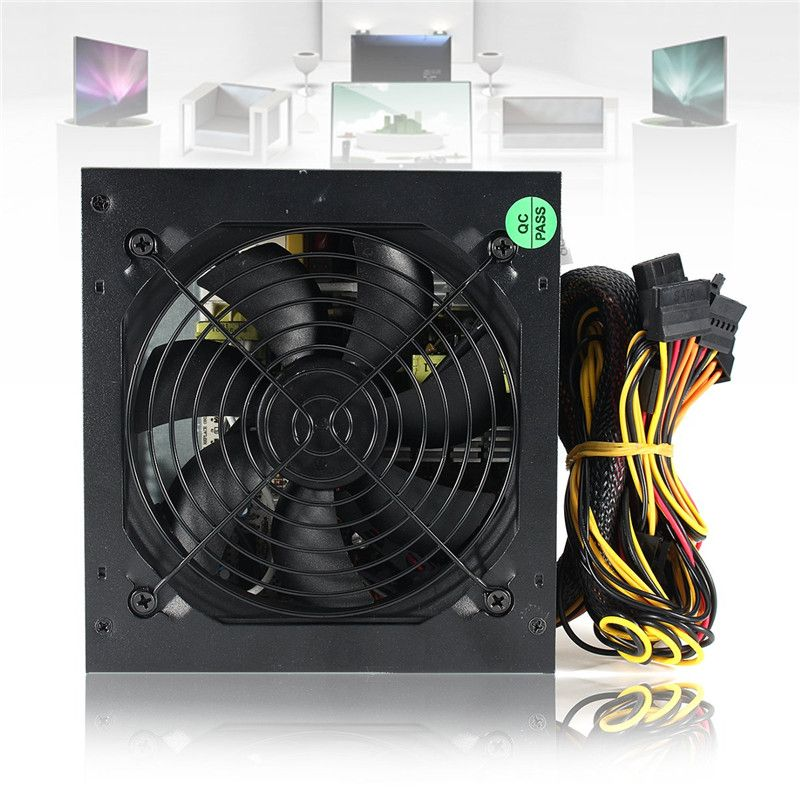 1000 Watt Computer PC Power Supply for CPU Active PFC 80+ Efficient 2-PCIE 120mm Fan ATX 12V PC Power Supply for Intel AMD