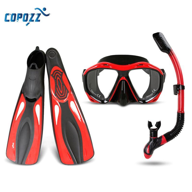 Copozz Brand Professional Snorkels Scuba Diving Mask Goggles Glasses Diving Swimming Fins Flippers Set