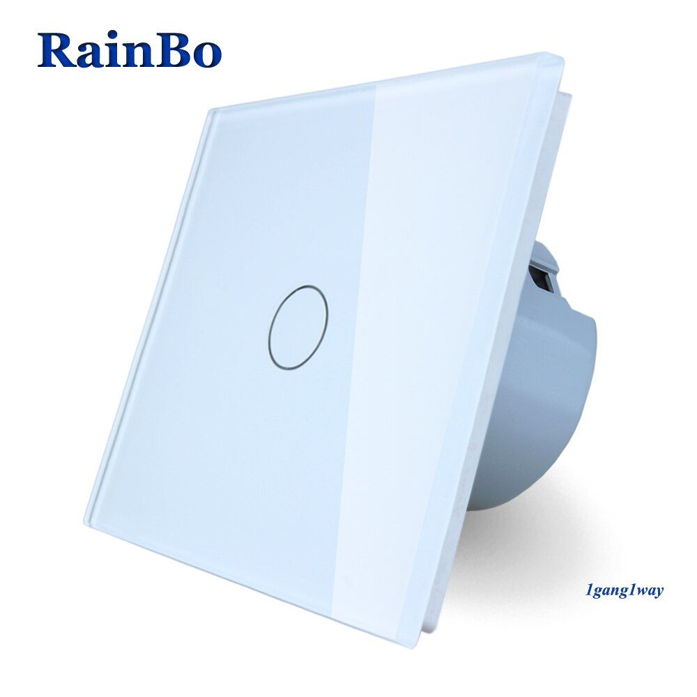 BainBo Crystal Glass Panel smart Switch EU Wall Switch 110~250V Touch Switch Screen Wall Light Switch 1gang1way A1911CW/B