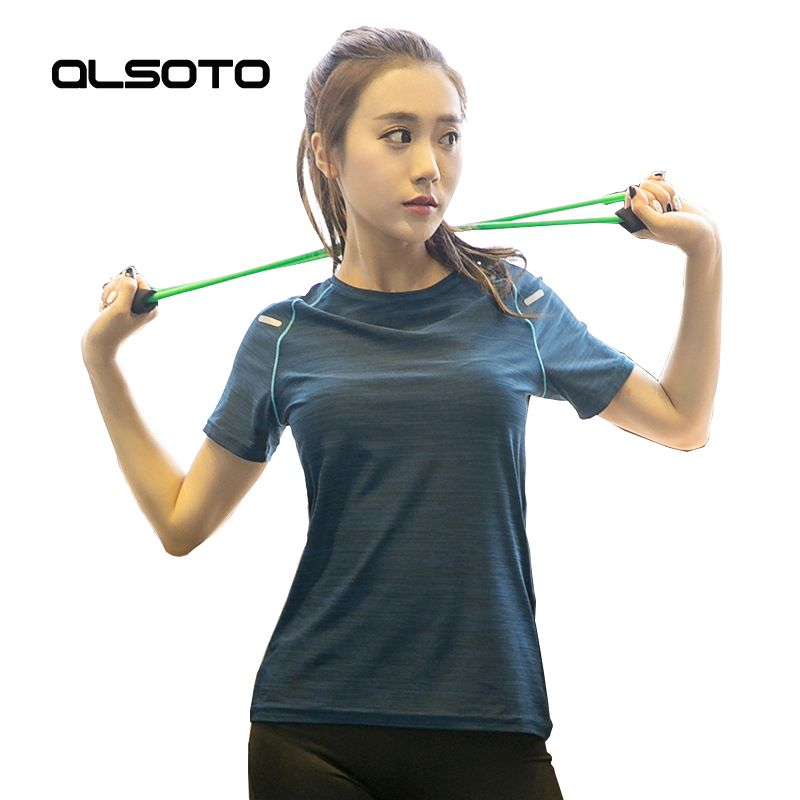 Running sports t-shirt for Women loose Quick-drying Fitness yoga short sleeves Round neck Solid color Gym Joggers tops