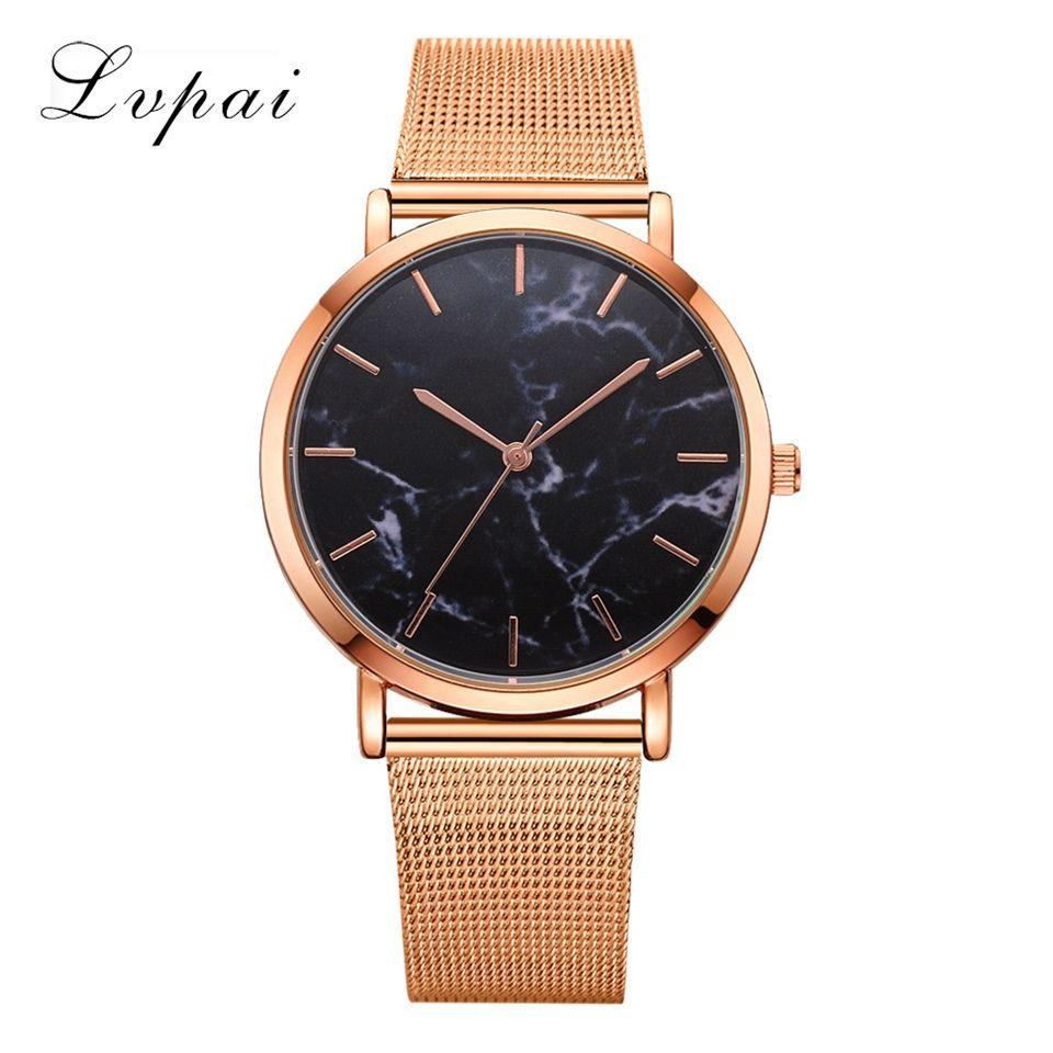 Lvpai Dropshiping Fashion Rose Gold Mesh Band Creative Marble Wrist Watch Casual Women Watches Brand Quartz Gift Relogio