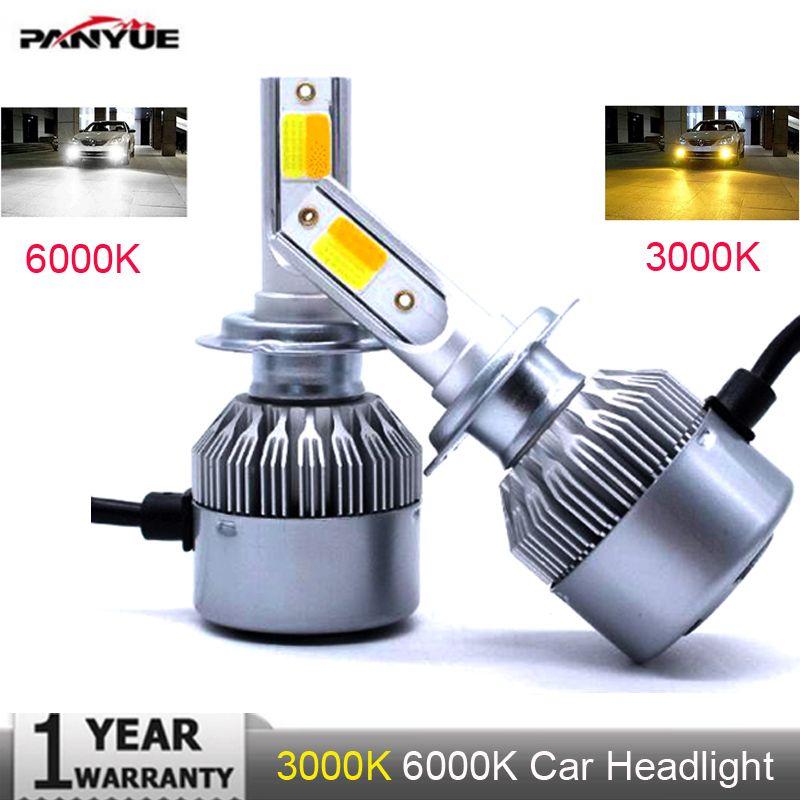 Elglux 12V Dual Color Led Car Headlight Bulbs H3/H8/H9/H11/9005/9006/880/881 72W 6000K&3000K Lights Fog Lamp Headlamps