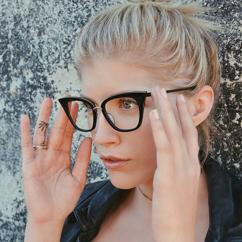 ROYAL GIRL Cat Eye Women Eyeglasses frames Brand Designer Glasses Vintage Mirror Classic Clear Lens glasses ss099
