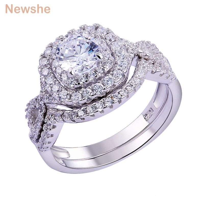 Newshe 1.9Ct AAA CZ 2Pcs Genuine Solid 925 Sterling Silver Wedding Ring Sets Engagement Band Fashion Jewelry For Women JR4844