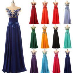 Elegante Boden Länge Formale Abendkleider Chiffon lange Party Kleider mit Applikationen und Kristalle Heißer Verkauf SD159