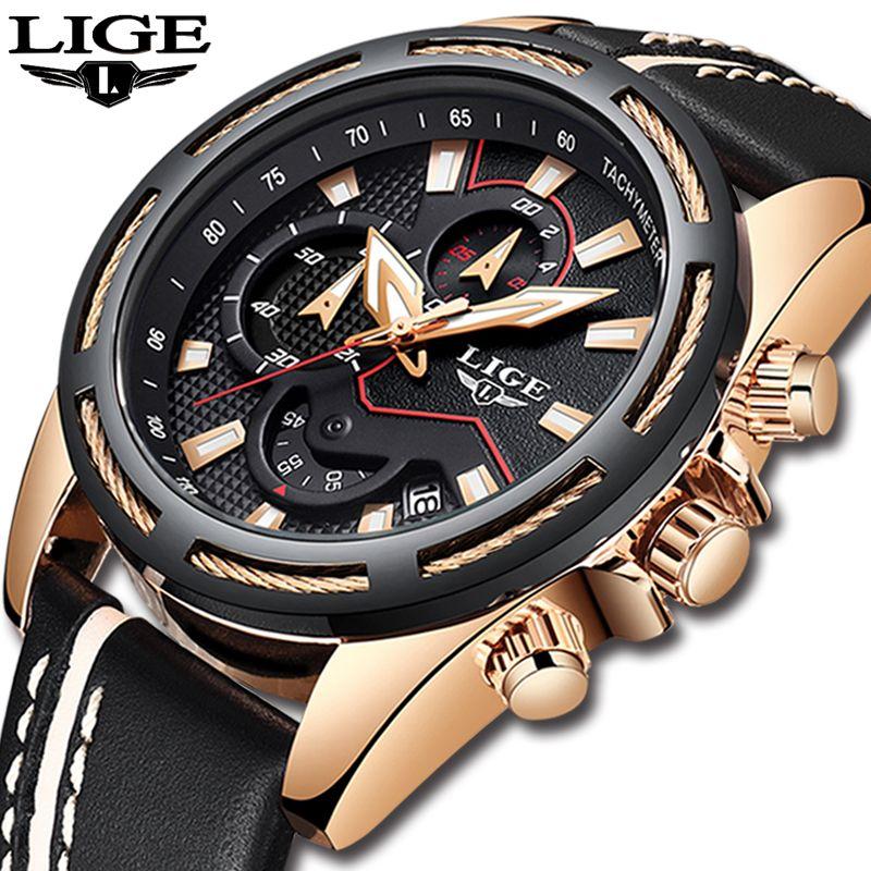 Relogio Masculino LIGE Mens Watches Top Brand Luxury Quartz Gold Watch Men Casual Leather Military Waterproof Sport Wristwatch