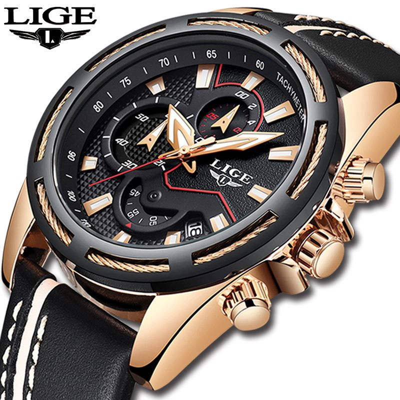 Relogio Masculino LIGE Mens Watches Top Brand Luxury Quartz Gold Watch Men Casual Leather Military Waterproof Sport Wristwatch