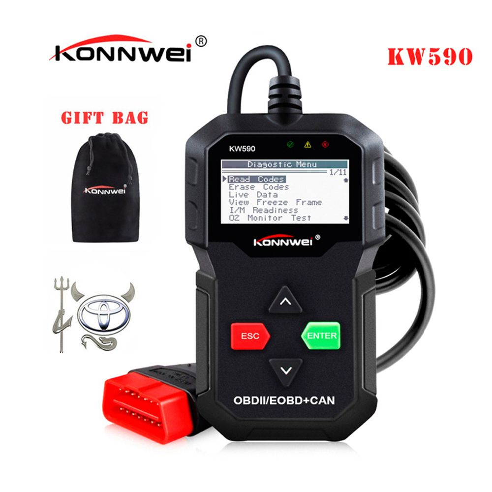 Best ODB OBD2 Car Diagnostic Scanner KONNWEI KW590 OBD2 Scanner Multi-languages OBD2 Autos scanner in Russian Better Than AD310