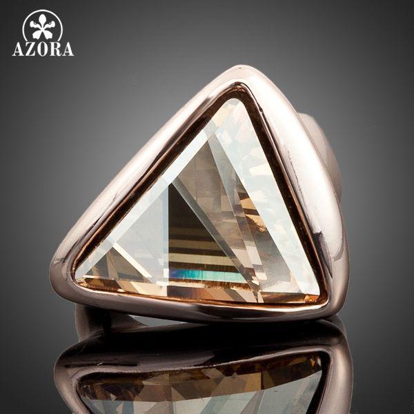 Bague en or Rose AZORA couleur or Triangle Stellux bague en cristal autrichien TR0015