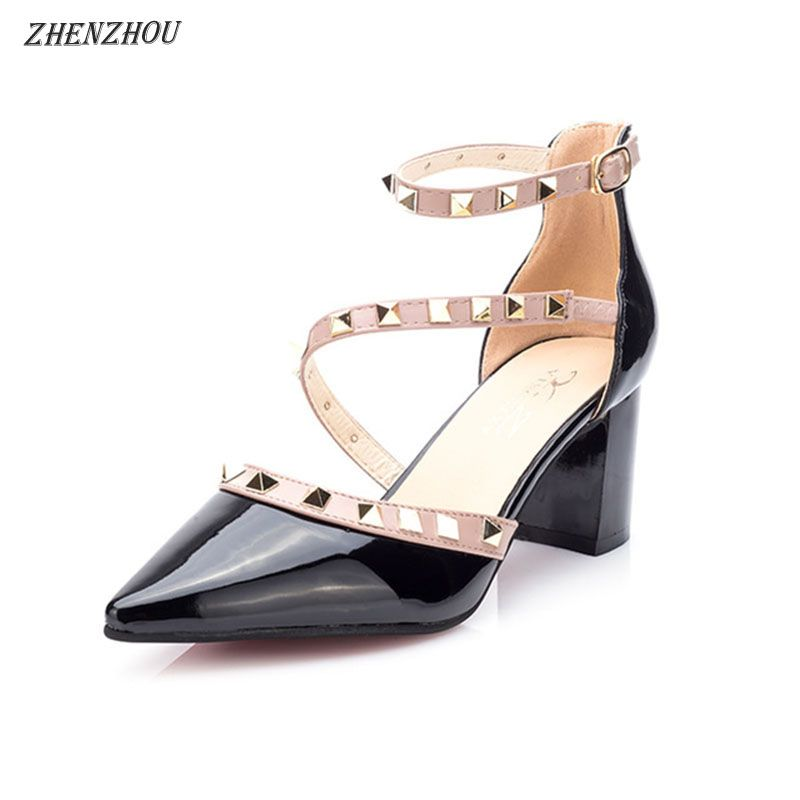 Free shipping shoes woma 2018 summer Women Pumps brand OL Rivet high heels <font><b>pointed</b></font> buckle single shoes professional shoes