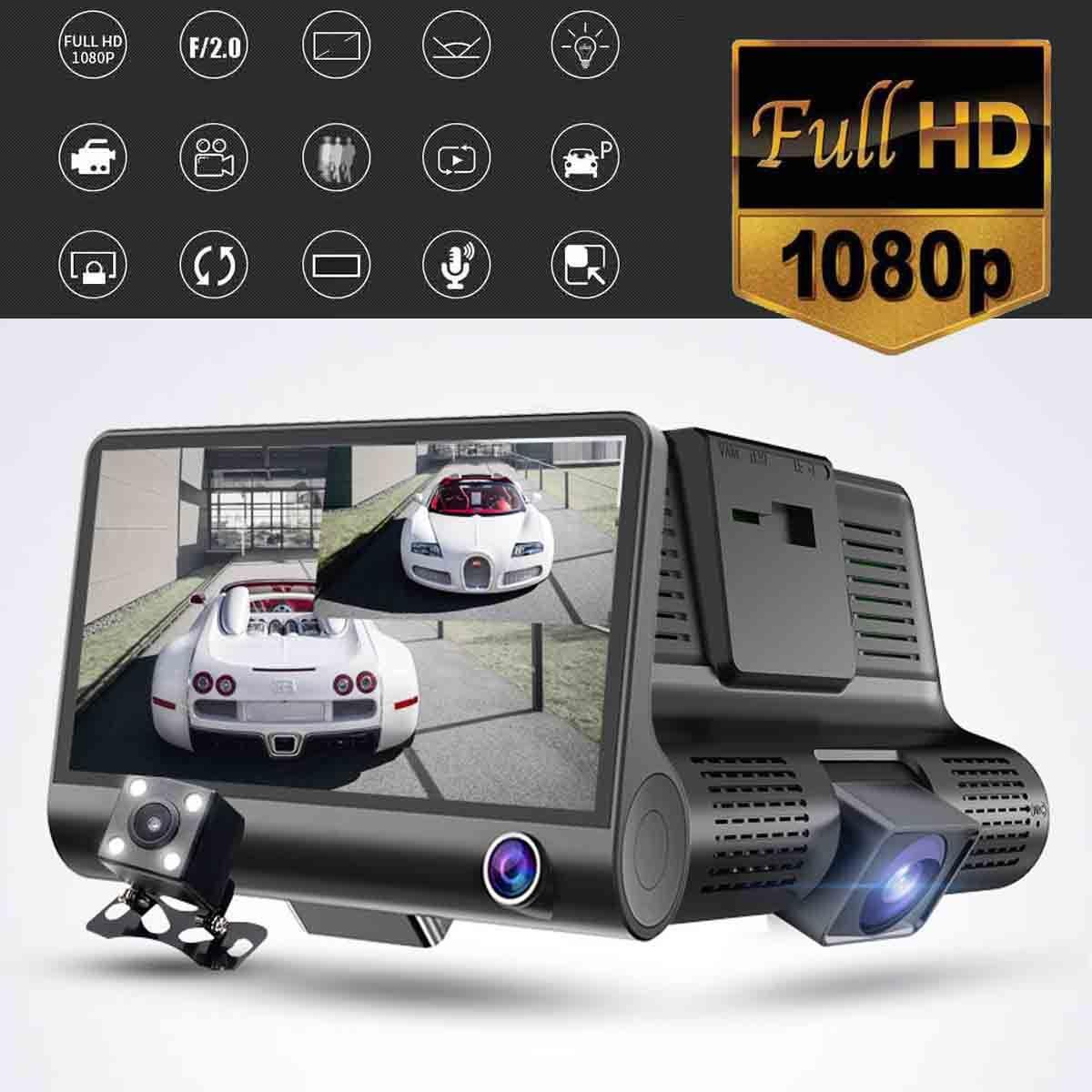 KROAK Three Lens 4'' Screen Car DVR Camera 1080P FHD Video Recorder Wide Angle Camcorder G-sensor