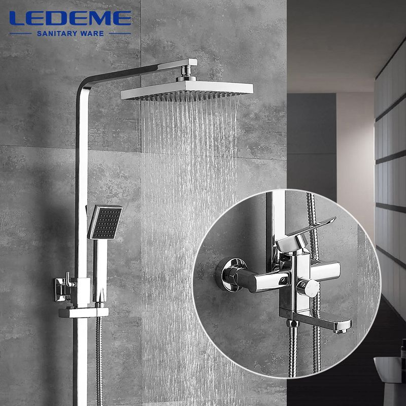 LEDEME Modern Square Chrome Rain Shower Faucet Head Faucets Hand Shower Sprayer Mixer Single Holder Dual Control L2433