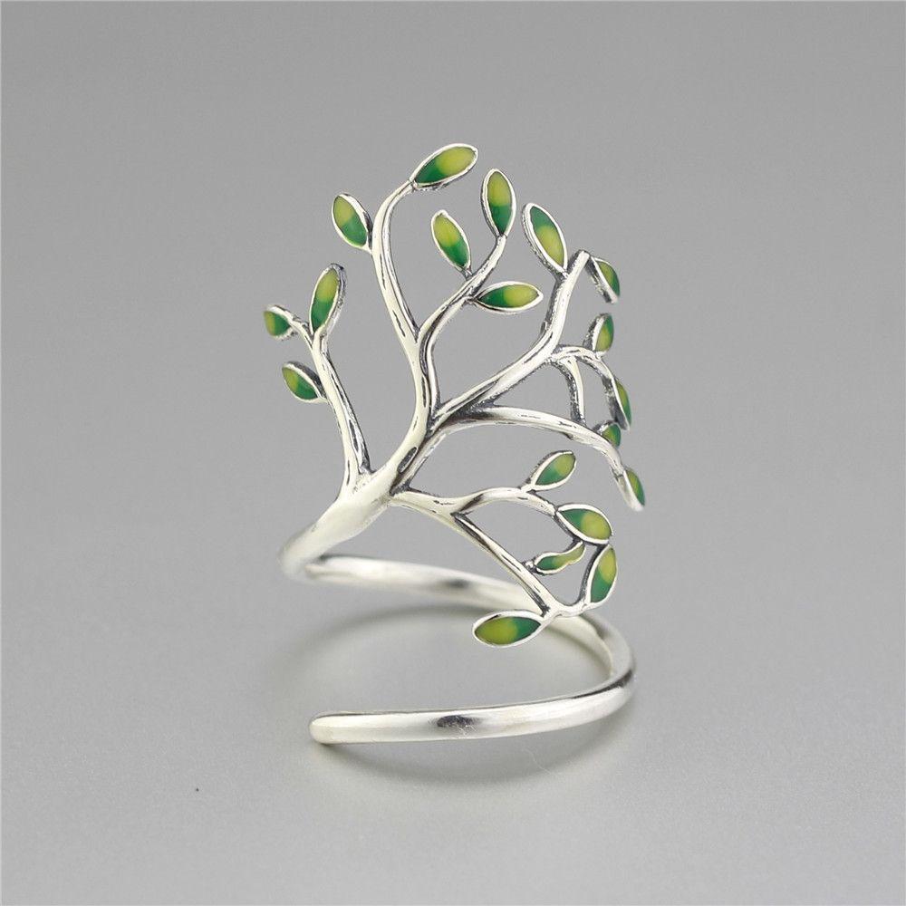 925 en argent Sterling goutte glaçure feuilles ouvertes anneaux pour les femmes Original fait à la main dame prévenir l'allergie Sterling-argent-bijoux