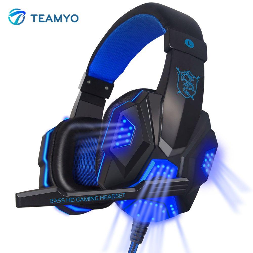 Teamyo pc780 игровая гарнитура за ухо светящиеся наушники оголовье С микрофоном PC стерео бас наушники для компьютера PC Gamer