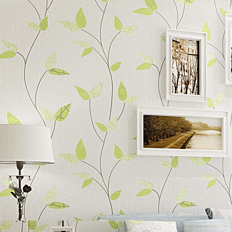 3D Moderne Tapeten Wohnkultur Green Leaf Wallpaper für Wände Non Woven Wandpapierrolle Hintergrund Schlafzimmer Tapete Dekorative