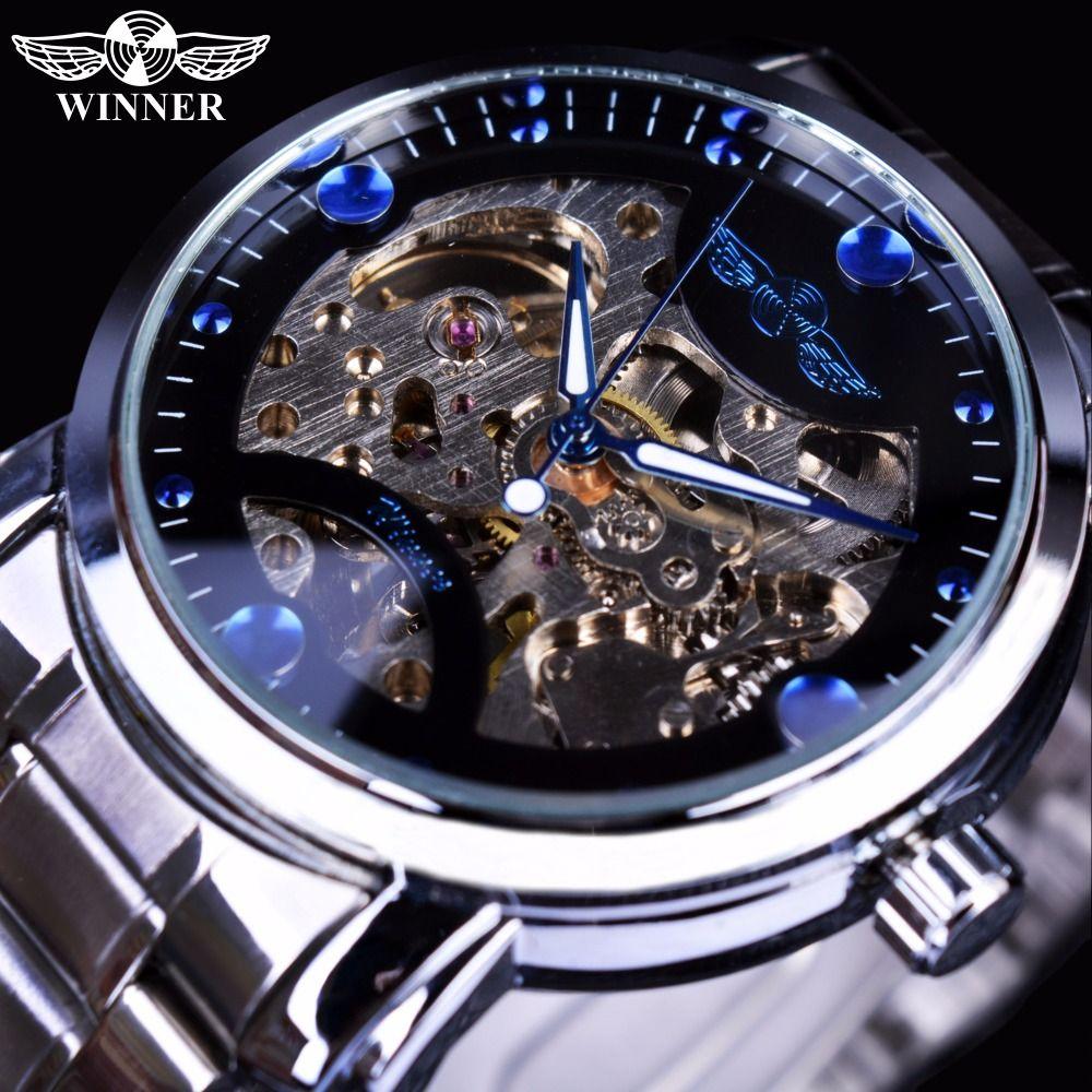 Winner Blue Ocean Fashion Casual Designer Stainless Steel Men Skeleton Watch Mens Watches Top Brand Luxury Automatic Watch Clock