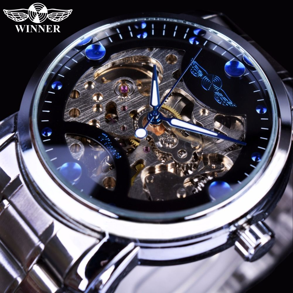 Winner <font><b>Blue</b></font> Ocean Fashion Casual Designer Stainless Steel Men Skeleton Watch Mens Watches Top Brand Luxury Automatic Watch Clock