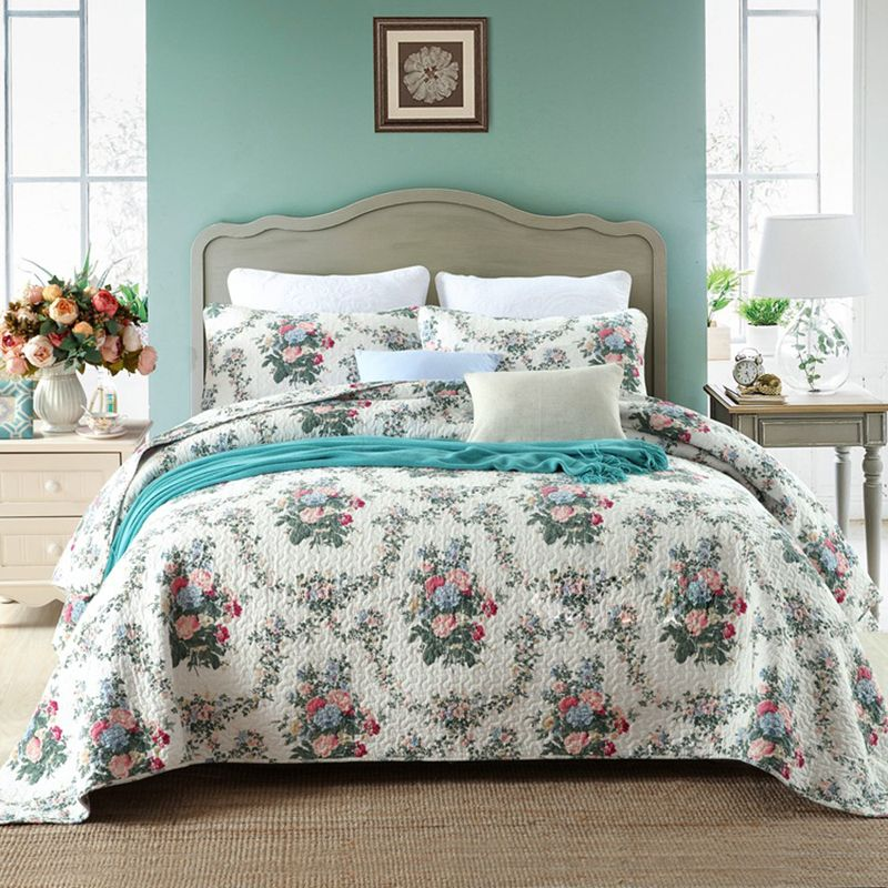 CHAUSUB Summer Quilt Set 3PCS Coverlet Washed Cotton Quilts Bed Sheet Quilted Bedspread Floral Printed Bed Cover Shams King Size