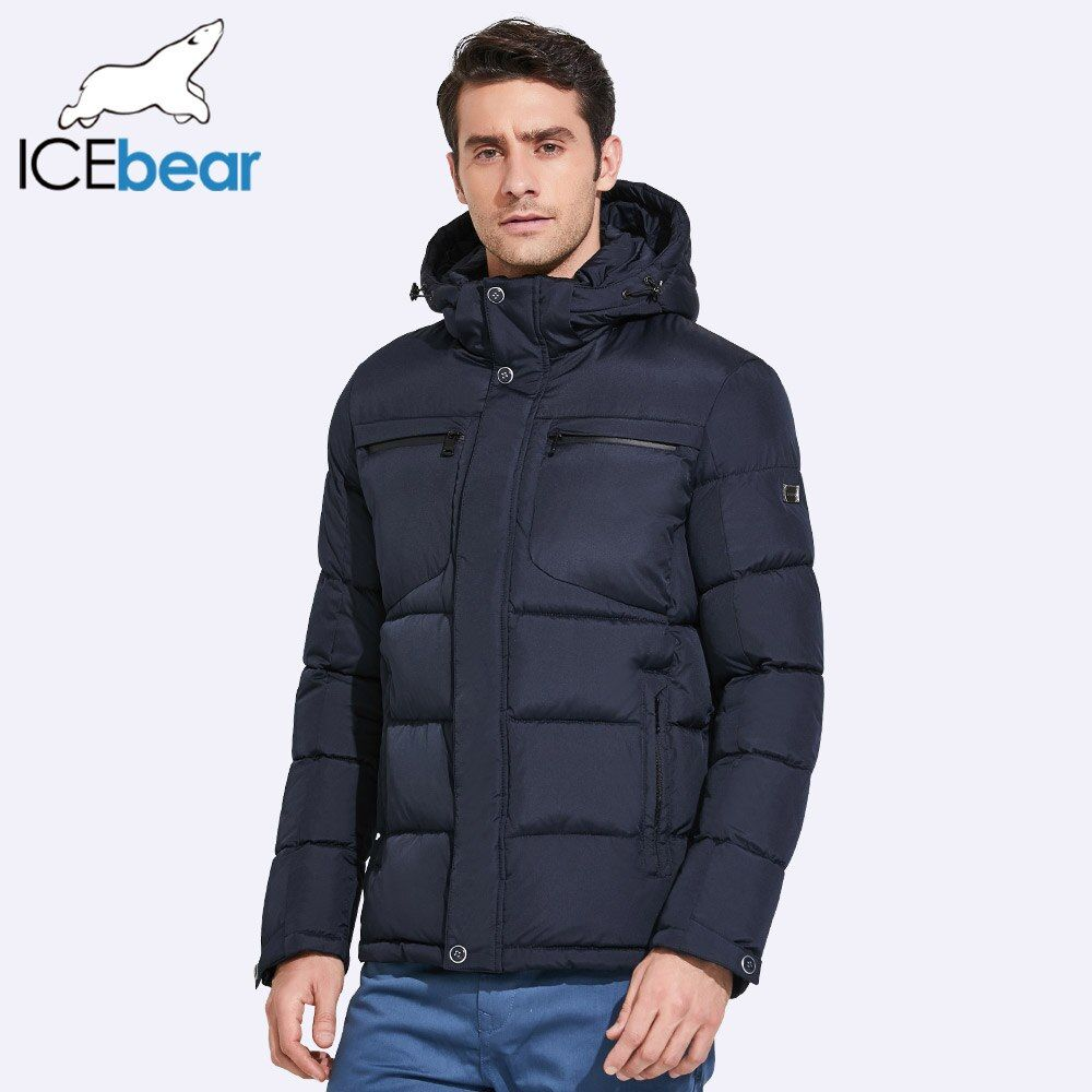 ICEbear 2017 Mens Winter Jackets Chest Exquisite Pocket Simple Hem Practical Waterproof Zipper High Quality Parka 17MD940D