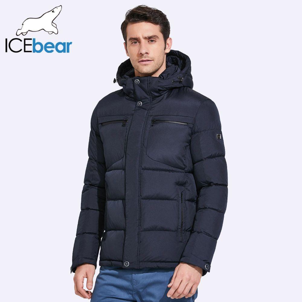 ICEbear 2017 Mens Winter Jackets Chest Exquisite Pocket Simple Hem Practical Waterproof Zipper High Quality Parka 17MD940D